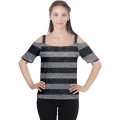Stripes2 Black Marble & Gray Leather Cutout Shoulder Tee
