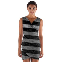 Stripes2 Black Marble & Gray Leather Wrap Front Bodycon Dress