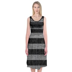 Stripes2 Black Marble & Gray Leather Midi Sleeveless Dress