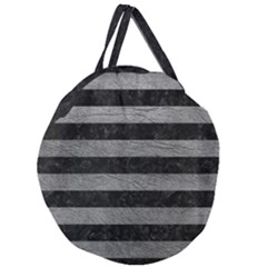 Stripes2 Black Marble & Gray Leather Giant Round Zipper Tote