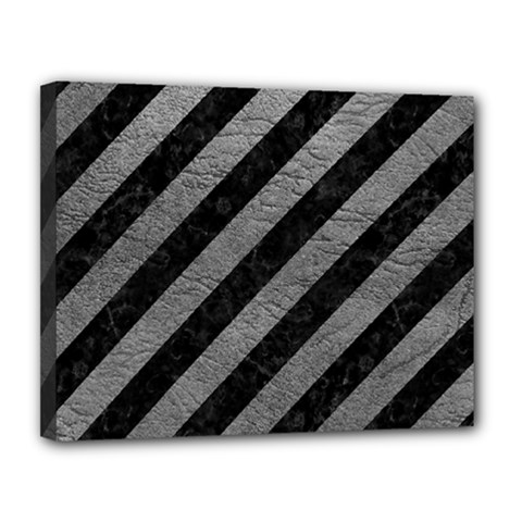 Stripes3 Black Marble & Gray Leather Canvas 14  X 11