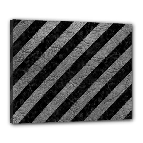 Stripes3 Black Marble & Gray Leather Canvas 20  X 16