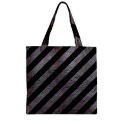 Stripes3 Black Marble & Gray Leather Zipper Grocery Tote Bag
