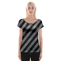 Stripes3 Black Marble & Gray Leather Cap Sleeve Tops