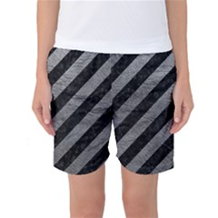 Stripes3 Black Marble & Gray Leather Women s Basketball Shorts