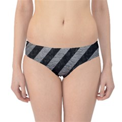 Stripes3 Black Marble & Gray Leather Hipster Bikini Bottoms