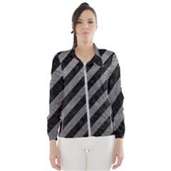 Stripes3 Black Marble & Gray Leather Wind Breaker (women)