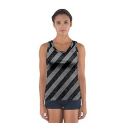 Stripes3 Black Marble & Gray Leather Sport Tank Top