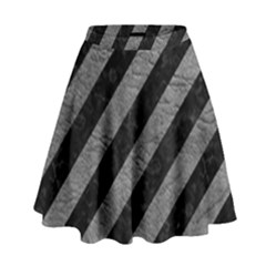 Stripes3 Black Marble & Gray Leather High Waist Skirt