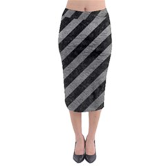 Stripes3 Black Marble & Gray Leather Midi Pencil Skirt