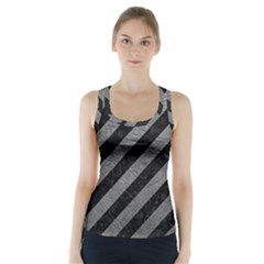 Stripes3 Black Marble & Gray Leather Racer Back Sports Top