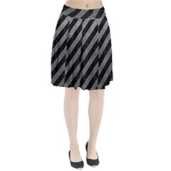 Stripes3 Black Marble & Gray Leather Pleated Skirt
