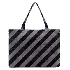 Stripes3 Black Marble & Gray Leather Zipper Medium Tote Bag