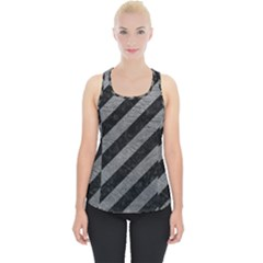 Stripes3 Black Marble & Gray Leather Piece Up Tank Top