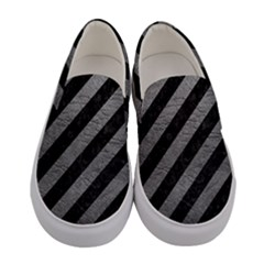 Stripes3 Black Marble & Gray Leather Women s Canvas Slip Ons