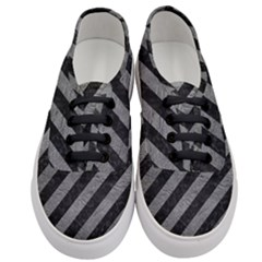 Stripes3 Black Marble & Gray Leather Women s Classic Low Top Sneakers