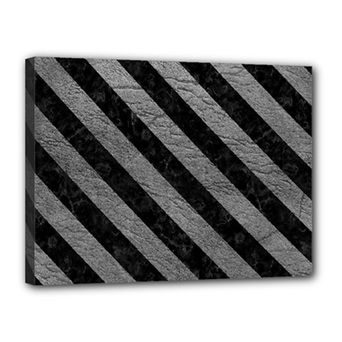 Stripes3 Black Marble & Gray Leather (r) Canvas 16  X 12