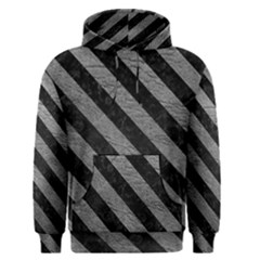Stripes3 Black Marble & Gray Leather (r) Men s Pullover Hoodie