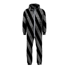 Stripes3 Black Marble & Gray Leather (r) Hooded Jumpsuit (kids)