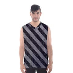 Stripes3 Black Marble & Gray Leather (r) Men s Basketball Tank Top