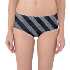 Stripes3 Black Marble & Gray Leather (r) Mid Waist Bikini Bottoms