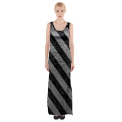 Stripes3 Black Marble & Gray Leather (r) Maxi Thigh Split Dress