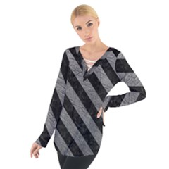 Stripes3 Black Marble & Gray Leather (r) Tie Up Tee