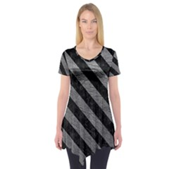 Stripes3 Black Marble & Gray Leather (r) Short Sleeve Tunic