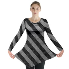 Stripes3 Black Marble & Gray Leather (r) Long Sleeve Tunic