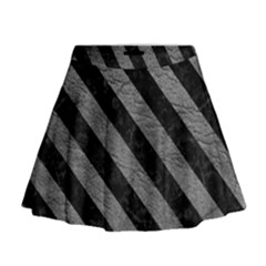 Stripes3 Black Marble & Gray Leather (r) Mini Flare Skirt