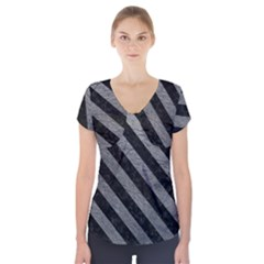 Stripes3 Black Marble & Gray Leather (r) Short Sleeve Front Detail Top