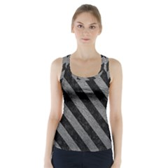 Stripes3 Black Marble & Gray Leather (r) Racer Back Sports Top