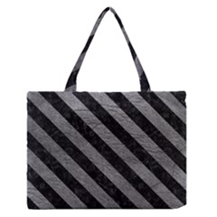 Stripes3 Black Marble & Gray Leather (r) Zipper Medium Tote Bag