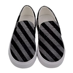 Stripes3 Black Marble & Gray Leather (r) Women s Canvas Slip Ons