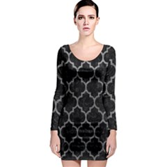 Tile1 Black Marble & Gray Leathertile1 Black Marble & Gray Leather Long Sleeve Bodycon Dress