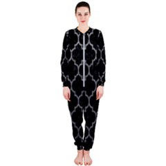 Tile1 Black Marble & Gray Leathertile1 Black Marble & Gray Leather Onepiece Jumpsuit (ladies)