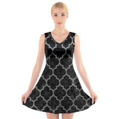 Tile1 Black Marble & Gray Leathertile1 Black Marble & Gray Leather V Neck Sleeveless Skater Dress