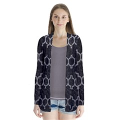 Tile1 Black Marble & Gray Leathertile1 Black Marble & Gray Leather Drape Collar Cardigan