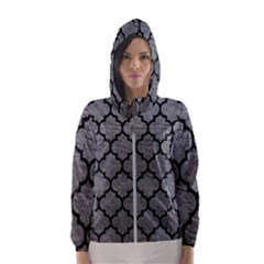 Tile1 Black Marble & Gray Leather (r) Hooded Wind Breaker (women)