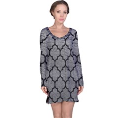 Tile1 Black Marble & Gray Leather (r) Long Sleeve Nightdress