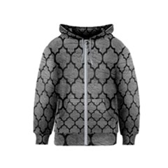 Tile1 Black Marble & Gray Leather (r) Kids  Zipper Hoodie