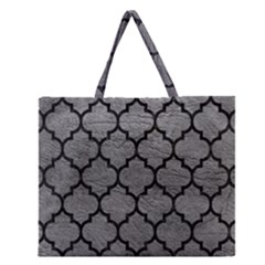 Tile1 Black Marble & Gray Leather (r) Zipper Large Tote Bag