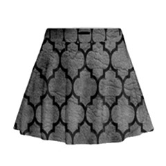 Tile1 Black Marble & Gray Leather (r) Mini Flare Skirt