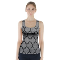 Tile1 Black Marble & Gray Leather (r) Racer Back Sports Top
