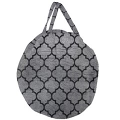 Tile1 Black Marble & Gray Leather (r) Giant Round Zipper Tote