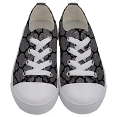 Tile1 Black Marble & Gray Leather (r) Kids  Low Top Canvas Sneakers