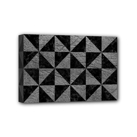 Triangle1 Black Marble & Gray Leather Mini Canvas 6  X 4