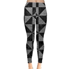 Triangle1 Black Marble & Gray Leather Leggings