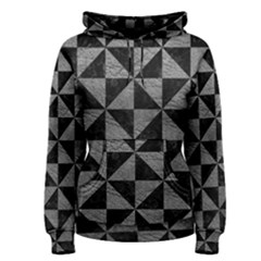 Triangle1 Black Marble & Gray Leather Women s Pullover Hoodie