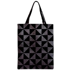 Triangle1 Black Marble & Gray Leather Zipper Classic Tote Bag
